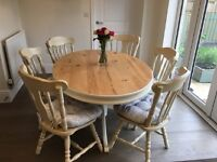 6 SEATER OVAL FARMHOUSE DINING TABLE SOLID PINE SHABBY/CHIC