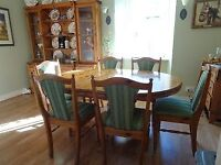 Ducal dining table and six chairs, and welsh dresser