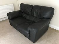 Two Seater Black Leather / Leather Effect Sofa - Used
