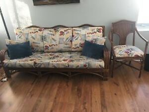 Rattan/wicker couch and matching chair
