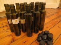ROUND OLIVE OIL GREEN DORICA 250ML GLASS BOTTLES W/ CAPS x 13 UNUSED - IDEAL FOR OLIVE OIL/DRESSING