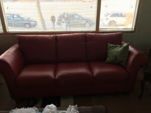 Red Italian Leather Coach and Chair, Oak Table/Chairs Edmonton Edmonton Area image 2