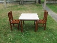 Child's Table and 2 Wooden Chairs