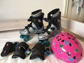 Phoenix Quad Roller Skates with pads and helmet