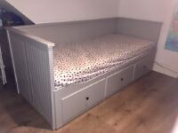 Ikea Hemnes 3 drawers sofa bed + 2 matresses - grey - 150£
