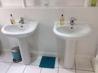 2 X BATHROOM SINKS WITH TAPS AND PEDESTALS