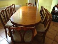 """Ducal """"Rosedale"""" sideboard, dining room table and 8 chairs and a nest of matching tables"""