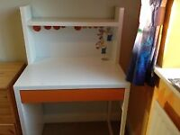 Lovely neat and cheerful desk, shelf, drawer and magnetic board plus chair