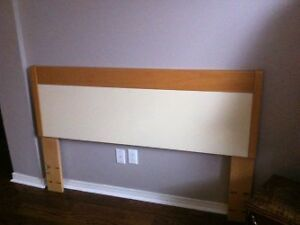 Headboard queen size wood and creamy/white insert.
