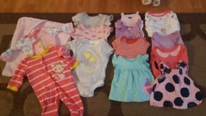 Mixture of sizes of Baby Girl clothing NB-3mo