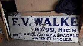 Vintage Enamel Cycle Shop Sign