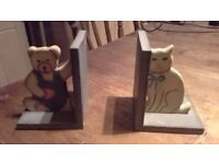 teddy and cat bookend