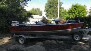 LUND S14 FISHING BOAT AND CARAVAN TRAILER