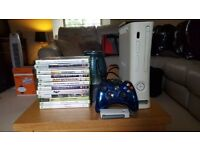 X BOX 360 WITH 120GIG H/D AND 12 GAMES AND CONTROLLER AND WIRELESS CONNECTOR
