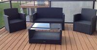 Uberhaus 4 piece black wicker patio set