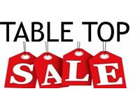 Indoor table top sale Sunday 9th April