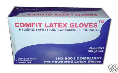 BOX OF 100 MEDIUM PRE - POWDERED MED LATEX GLOVES