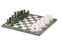 Deluxe white & green marble chess set in original box- A delightful gift for a keen chess player