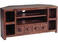 Perfect Dakota dark wood TV cabinet and coffee table set for sale!