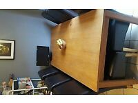 Large Solid Dining Table & 6 Brown Leather Chairs