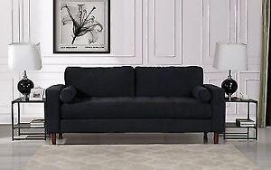 Divano Roma Furniture Mid Century Modern Velvet Fabric Sofa Black
