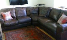 Hand made leather corner sofa imported from Italy. Seats 5 people and come in three parts