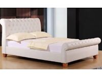 Dreams real leather white double bed £325
