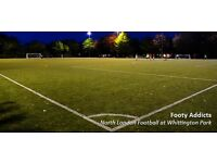 Friendly 8-a-side Football every Thursday. Close to Archway/Upper Holloway