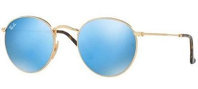 Ray ban 3447 / n 50 001/9O Gold Sunglasses Round Blau Spiegel Lenses Wohnung