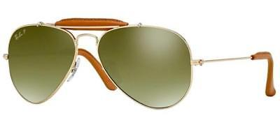 Ray ban 3422Q 58 001/M9 Leather Inserts or Brun Cuir Vert Argent (Ray Ban Polarized Or Nonpolarized)