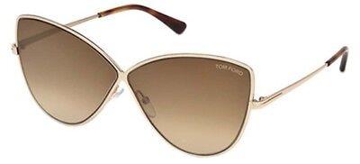 Tom Ford ELISE-02 FT 0569 shiny rose gold/brown mirror (28G L) Sunglasses