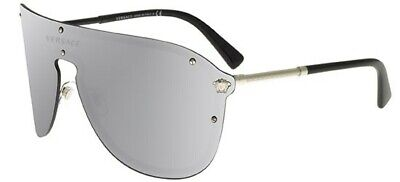 Versace Shield Pilot VE2180 Silver Lenses Sunglasses New and Authentic
