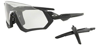 OAKLEY 9401 07 FLIGHT JACKE STEEL BLACK INK SONNENBRILLE CLEAR IRIDIUM FOTO
