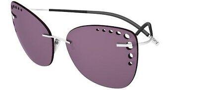 Silhouette TMA ICON 8157 6223 Gunmetal Silver Dark Rose Violet Women Sunglasses
