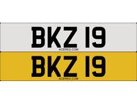 BKZ 19 Personalised Number Plate Audi BMW Volvo Ford Evo Subaru Honda Toyota Kia GTI M3 RS