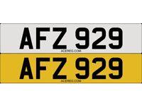 AFZ 929 Personalised Number Plate Audi BMW Volvo Ford Evo Subaru Honda Toyota Kia GTI M3 RS