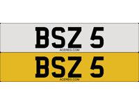 BSZ 5 Single Number Plate Audi BMW Volvo Ford Evo Subaru Kia Nissan Honda Toyota Kia SLS SLR SL
