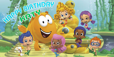 Birthday banner Personalized 4ft x 2 ft Bubble Guppies](Bubble Guppies Birthday Banner)