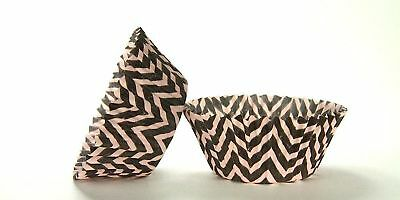 50pc Chevron Design - Black / Pink Standard Size Cupcake Baking Cups Liners W...](Pink And Black Cupcake Liners)