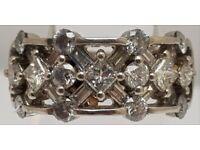 14ct White Gold Ladies Half Eternity Diamond Ring - Size J