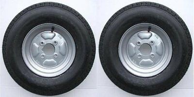 "Pair of Trailer Wheels 500 x 10"" 4 Ply 4"" PCD with Grease Nipple cut out 355Kg"