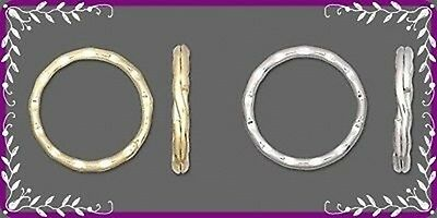 """MIXED Lot 12 KEY RINGS ~ 25mm 1"""" Split Ring ~ Hammered Style ~ 6 GOLD + 6 SILVER"""