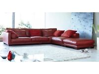 Red California DFS Leather Sofa