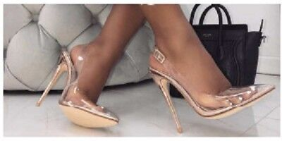 Cape Robbin Seamless Rose Gold Sling Back Clear Transparent Pumps