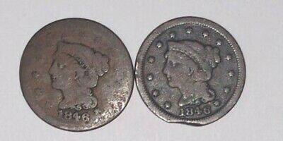 LOT (2) 1846 Philadelphia Mint Copper Braided Hair Large Cent 1c