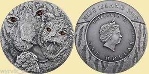 Niue silver proof tiger coin antique finish