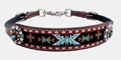 Showman Beaded Cross Conchos Leather Wither Strap Barrel Racing 2 Trigger Snaps