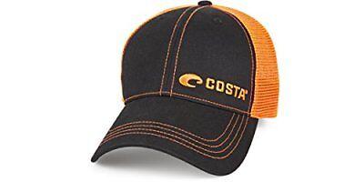 Costa Del Mar Neon Trucker Offset Logo Hat, Graphite- Neon O