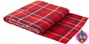 NEW RETRO VINTAGE RED TARTAN PICNIC FLEECE BLANKET THROW COVER