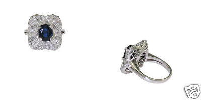 Estate Platinum Ladies Sapphire Diamond Cocktail Ring
